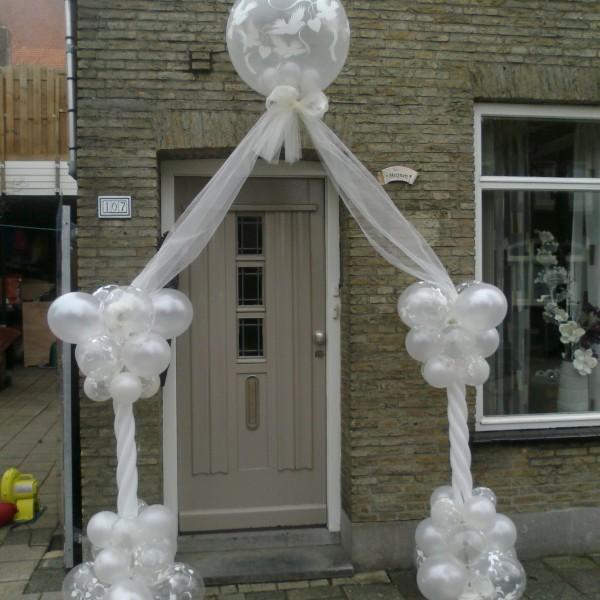 Bruiloft Boog Met Helium Ballon Top Met Tulle