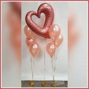 helium rosegoud glitter hart ballonnen