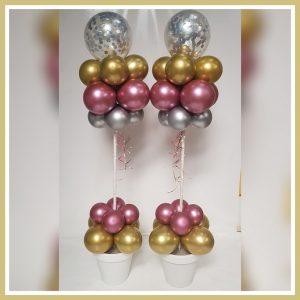 bloempot 3 chrome ballonnen